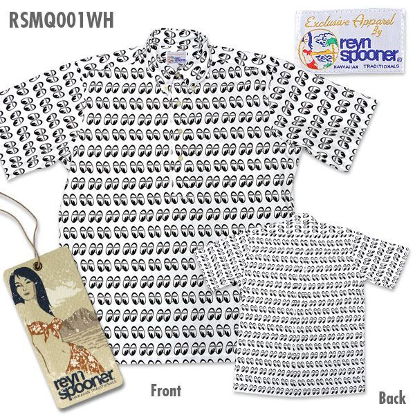 Reyn Spooner / MOON Equipped Mens Short Sleeve Button Down Pull Over Shirts White [ RSMQ001WH ]